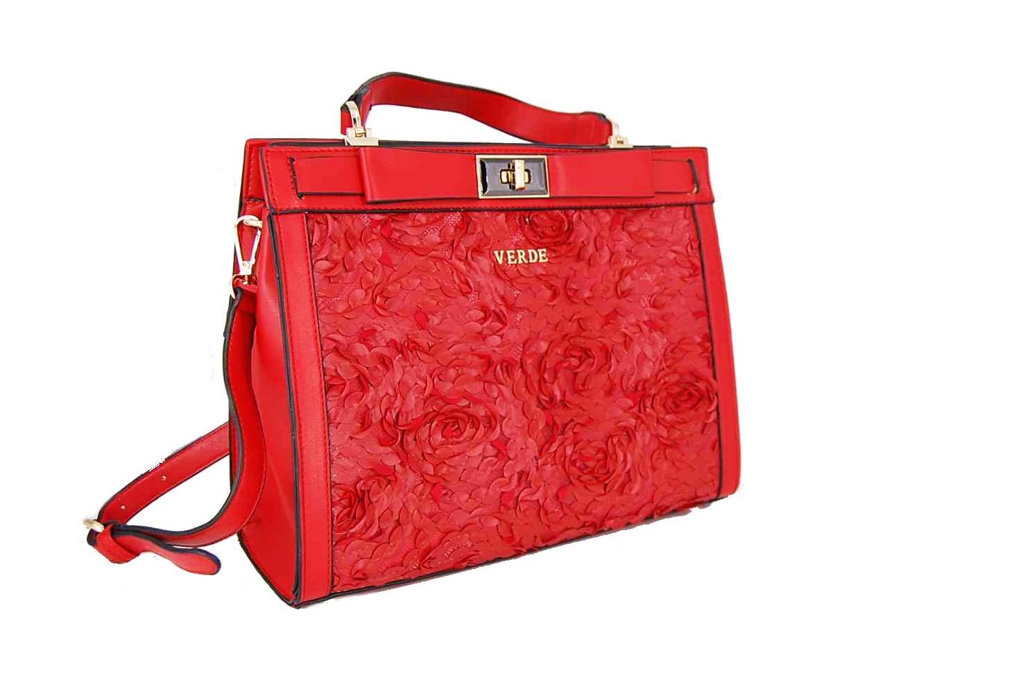 9500abe059 Verde τσάντα γυναικεία χεριού και χιαστί κόκκινη