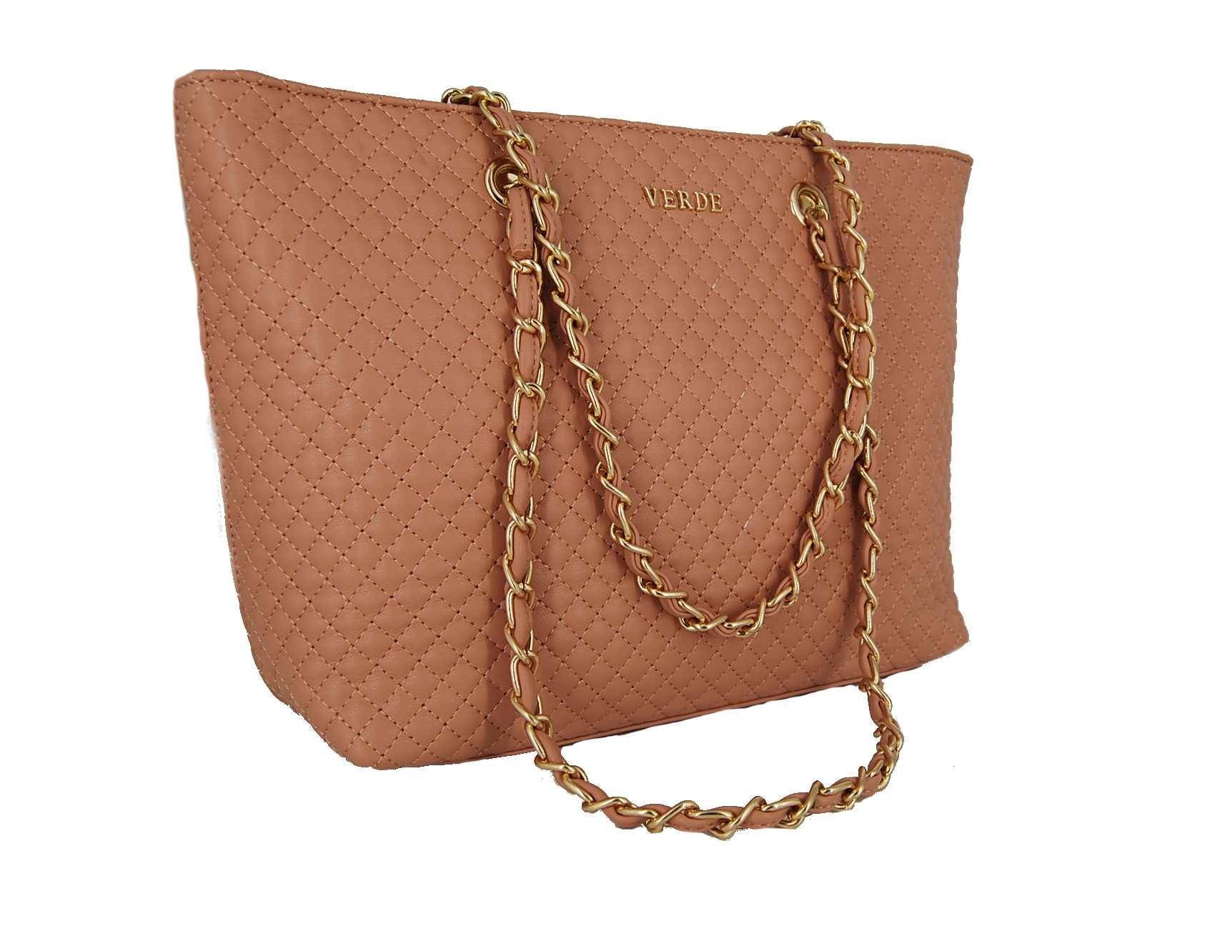 26ec942d09 Verde τσάντα ώμου ροζ με χρυσή αλυσίδα
