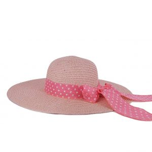 Verde καπέλο ψάθινο γυναικείο ροζ με φιόγκο