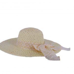 Verde καπέλο ψάθινο γυναικείο ιβουάρ με φιόγκο