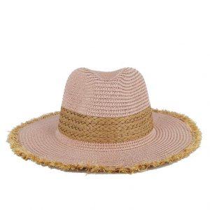 Verde καπέλο γυναικείο ψάθινο ροζ με ξέφτια