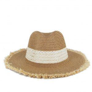 Verde καπέλο γυναικείο ψάθινο καμηλό με ξέφτια