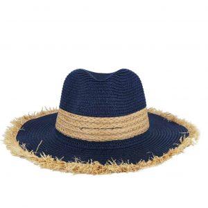 Verde καπέλο γυναικείο ψάθινο μπλε με ξέφτια