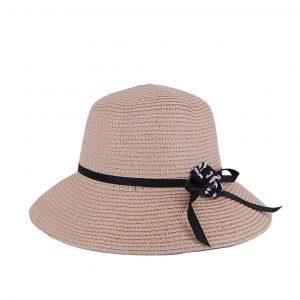 Verde καπέλο ψάθινο γυναικείο ροζ με λουλούδι