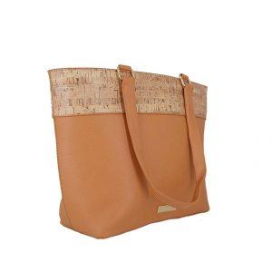 Τσάντα ώμου Doca καμηλό με τύπωμα