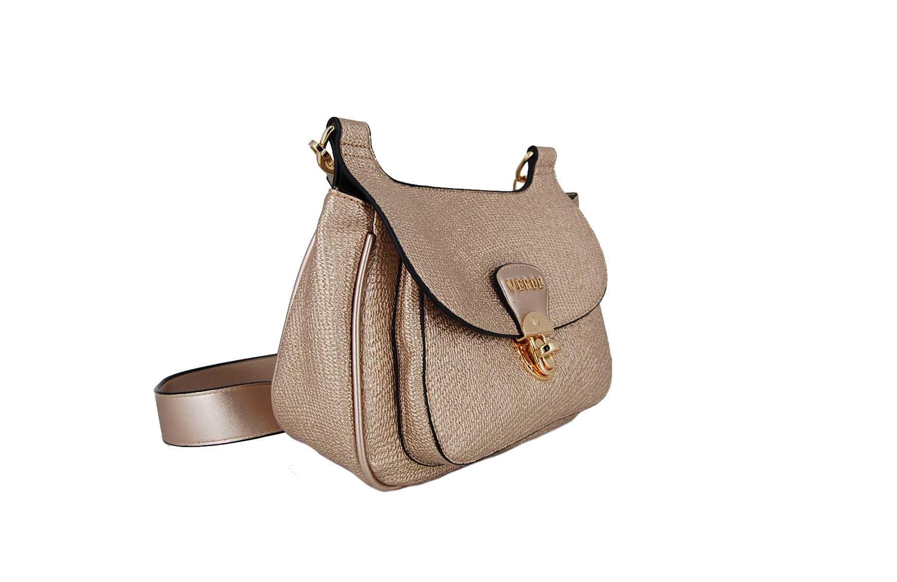 f6593bfcf5 Verde τσάντα γυναικεία χιαστί ροζ-χρυσό