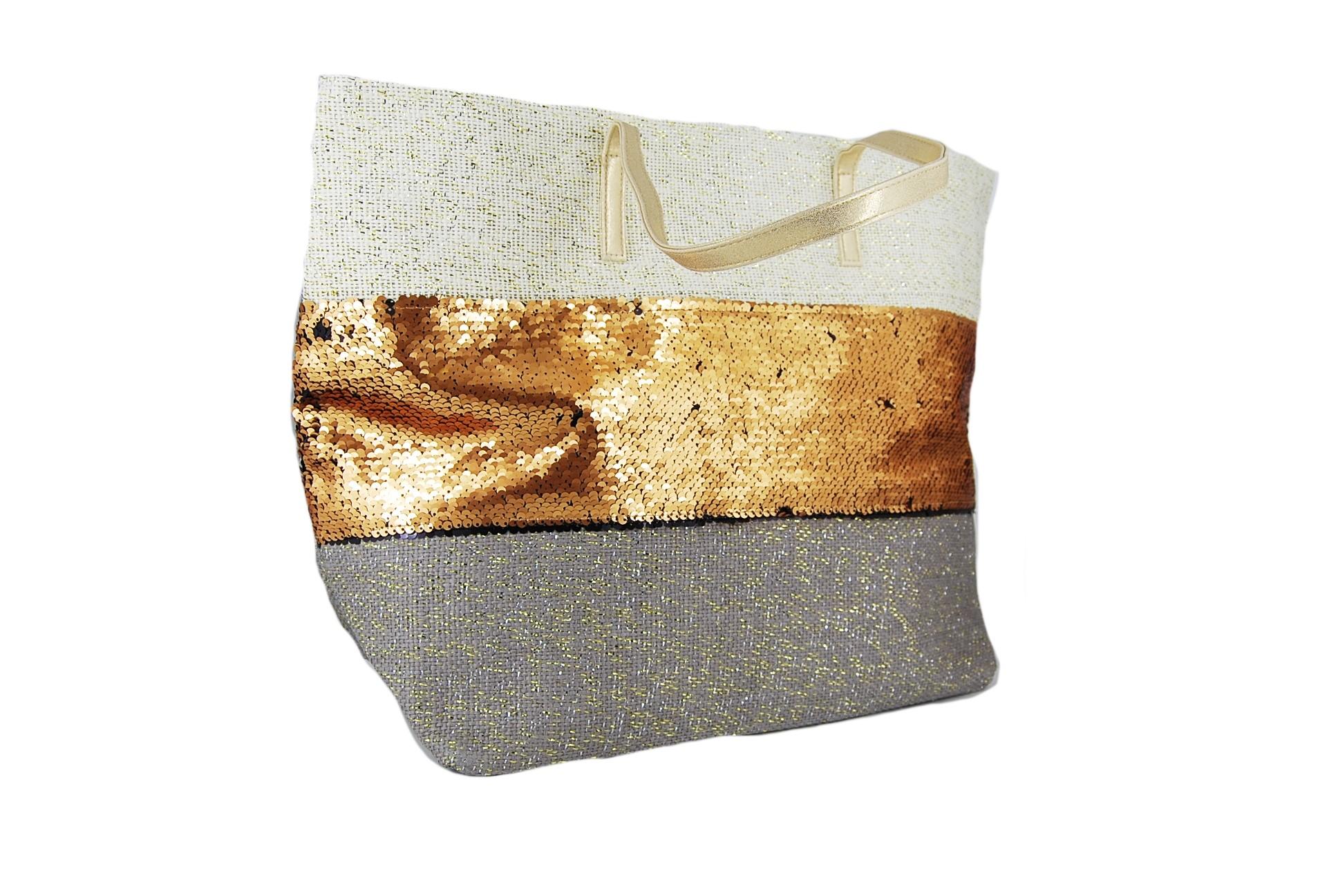 c565bb750f Verde τσάντα θαλάσσης γυναικεία τρίχρωμη (μπεζ-χρυσό-γκρι ...