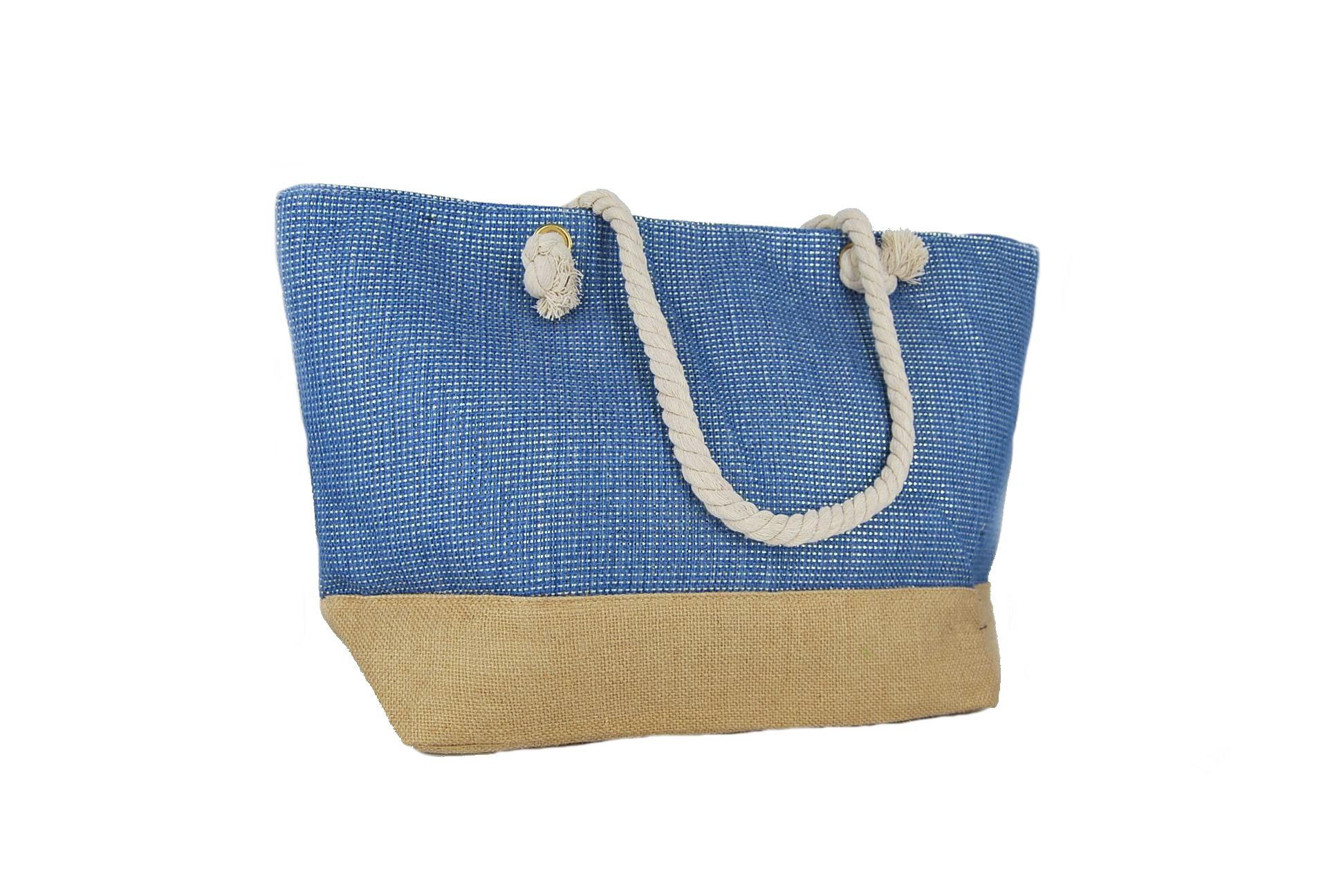 904c062392 Doca τσάντα θαλάσσης γυναικεία μπλε με χρυσές λεπτομέρειες ...