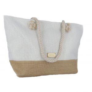 824d5d732b Doca τσάντα θαλάσσης γυναικεία άσπρη με χρυσές λεπτομέρειες ...