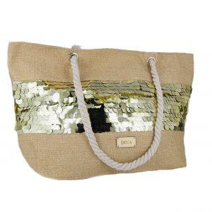 7cdb3610e3 Doca τσάντα θαλάσσης γυναικεία χρυσές πούλιες ...