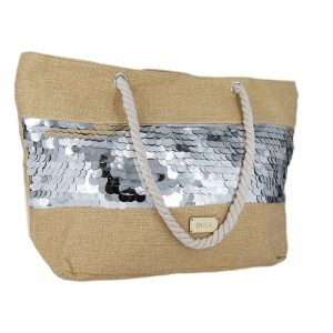 589fed87b2 Doca τσάντα θαλάσσης γυναικεία ασημί πούλιες