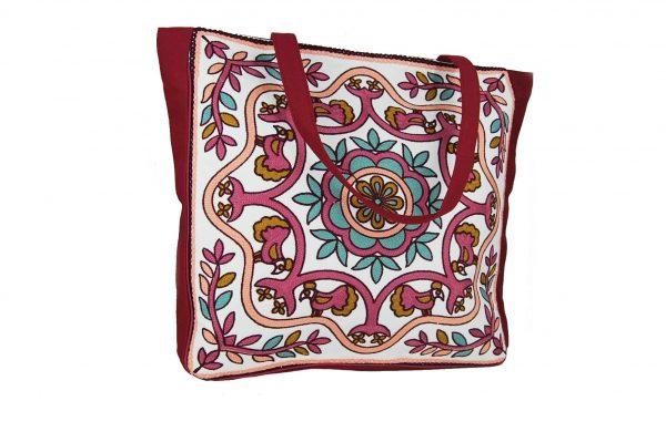 d0c461677a Doca τσάντα θαλάσσης γυναικεία μπορντώ με λουλούδια