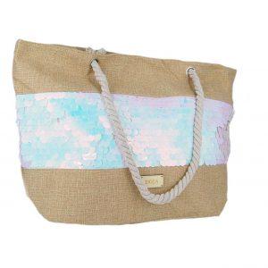 d5679f9587 Doca τσάντα θαλάσσης γυναικεία άσπρες πούλιες ...