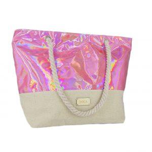 39cbcfb719 Doca τσάντα θαλάσσης γυναικεία ροζ ιριδίζον ...