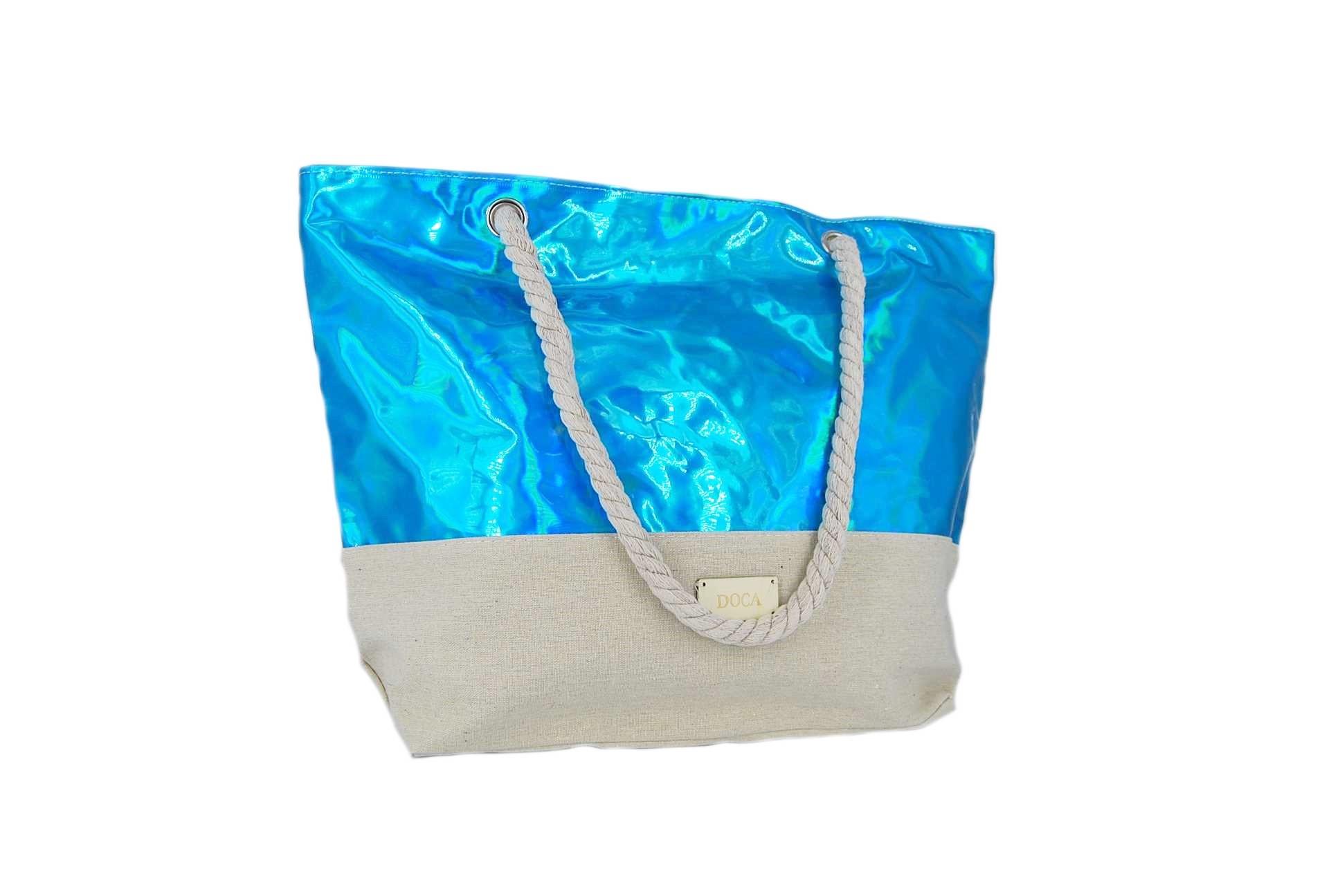 33a08550ce Doca τσάντα θαλάσσης γυναικεία μπλε ιριδίζον