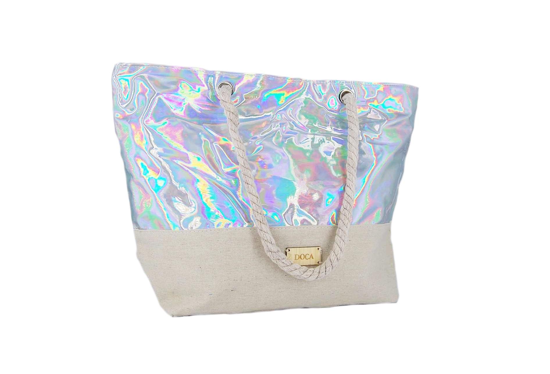 6a717ed9dd Doca τσάντα θαλάσσης γυναικεία ασημί ιριδίζον