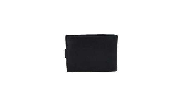 Ginis ανδρικό δερμάτινο πορτοφόλι μαύρο με κούμπωμα