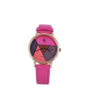 Εισαγωγική γυναικείο ρολόι ροζ-χρυσό με φούξια λουράκι