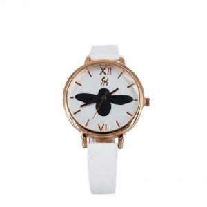 Εισαγωγική γυναικείο ρολόι ροζ-χρυσό με λευκό λουράκι