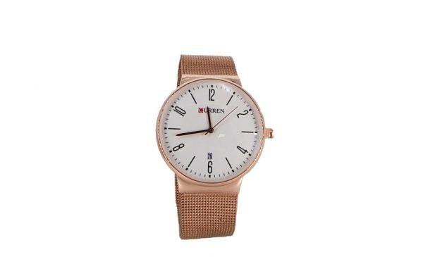 Εισαγωγική γυναικείο ρολόι σε ροζ-χρυσό χρώμα με bracelet τύπου ψάθα