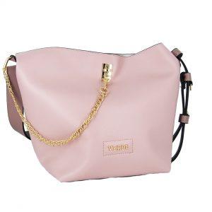 Verde τσάντα γυναικεία ώμου ροζ με χρυσή αλυσίδα