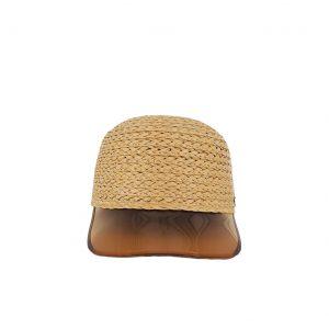 Εισαγωγική καπέλο ψάθινο γυναικείο με πορτοκαλί γείσο