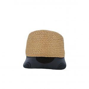 Εισαγωγική καπέλο ψάθινο γυναικείο με μαύρο γείσο