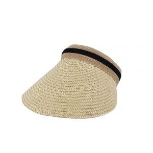 Εισαγωγική καπέλο ψάθινο γυναικείο μπεζ visor