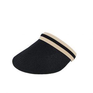 Εισαγωγική καπέλο ψάθινο γυναικείο μαύρο visor