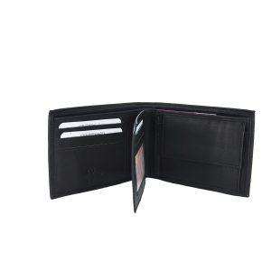 Ginis ανδρικό δερμάτινο πορτοφόλι μαύρο ταυτότητας