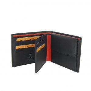 Lavor ανδρικό δερμάτινο πορτοφόλι μαύρο ταυτότητας διάτρητο σχέδιο