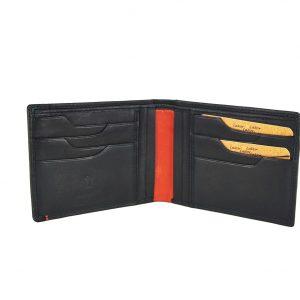 Lavor ανδρικό δερμάτινο πορτοφόλι μαύρο ταυτότητας με ρίγα