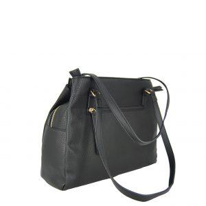 Verde τσάντα ώμου γυναικεία μαύρη με μαύρα λουράκια