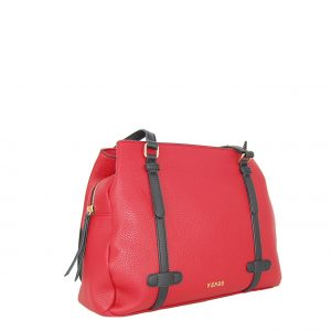 Verde τσάντα ώμου γυναικεία κόκκινο με μαύρα λουράκια