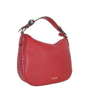 Verde τσάντα ώμου-χιαστί γυναικεία κόκκινη με τύπωμα φιδιού στο πλάι