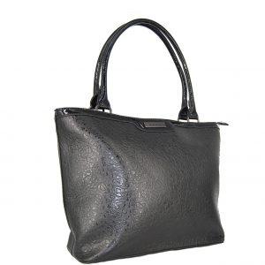 Doca τσάντα ώμου γυναικεία μαύρη με ανάγλυφες λεπτομέρειες