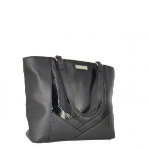 Doca τσάντα ώμου γυναικεία μαύρη με λουστρίνι λεπτομέρειες