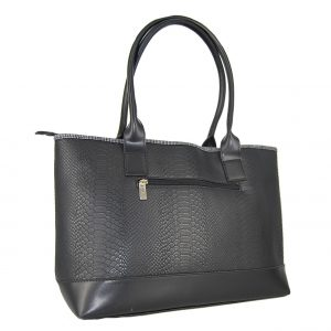 Doca τσάντα ώμου γυναικεία μαύρη με τύπωμα φιδιού