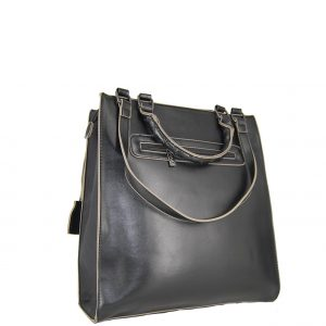 Doca τσάντα ώμου γυναικεία μαύρη με διάτρητες λεπτομέρειες