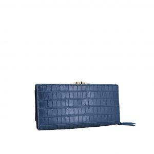 Verde πορτοφόλι γυναικείο μπλε με ιδιαίτερη υφή