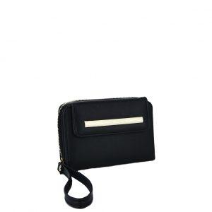 Verde πορτοφόλι γυναικείο μαύρο με φερμουάρ