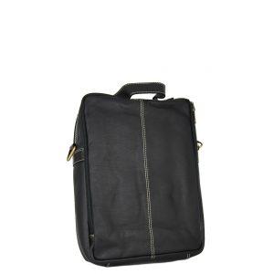 Ginis ανδρική τσάντα ταχυδρόμου μαύρη με 3 θήκες φερμουάρ