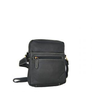 Ginis ανδρική τσάντα ταχυδρόμου μαύρη με φερμουάρ