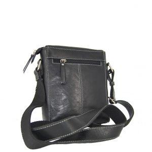 Ginis ανδρική τσάντα ταχυδρόμου μαύρη με μαγνητικό κούμπωμα