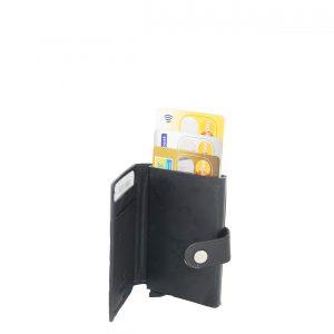 Ginis ανδρικό δερμάτινο πορτοφόλι μαύρο με μεταλλική θήκη για πιστωτικές κάρτες