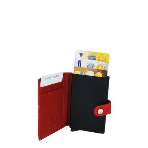 Ginis ανδρικό δερμάτινο πορτοφόλι κόκκινο με μεταλλική θήκη για πιστωτικές κάρτες