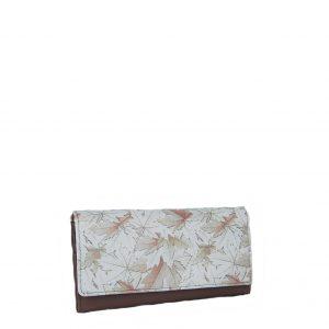Ginis πορτοφόλι γυναικείο μπεζ-nude δερμάτινο με τύπωμα φύλλα