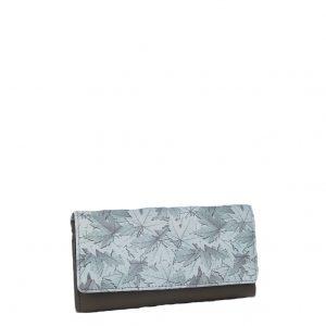 Ginis πορτοφόλι γυναικείο μπεζ δερμάτινο με τύπωμα φύλλα