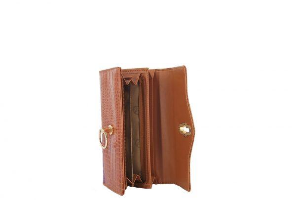 Verde πορτοφόλι γυναικείο καμηλό με υφή κροκό