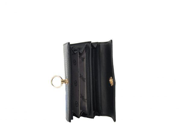 Verde πορτοφόλι γυναικείο μαύρο με υφή κροκό